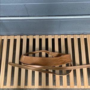 Anthropologie Woven Tan Leather Obi Wrap Belt